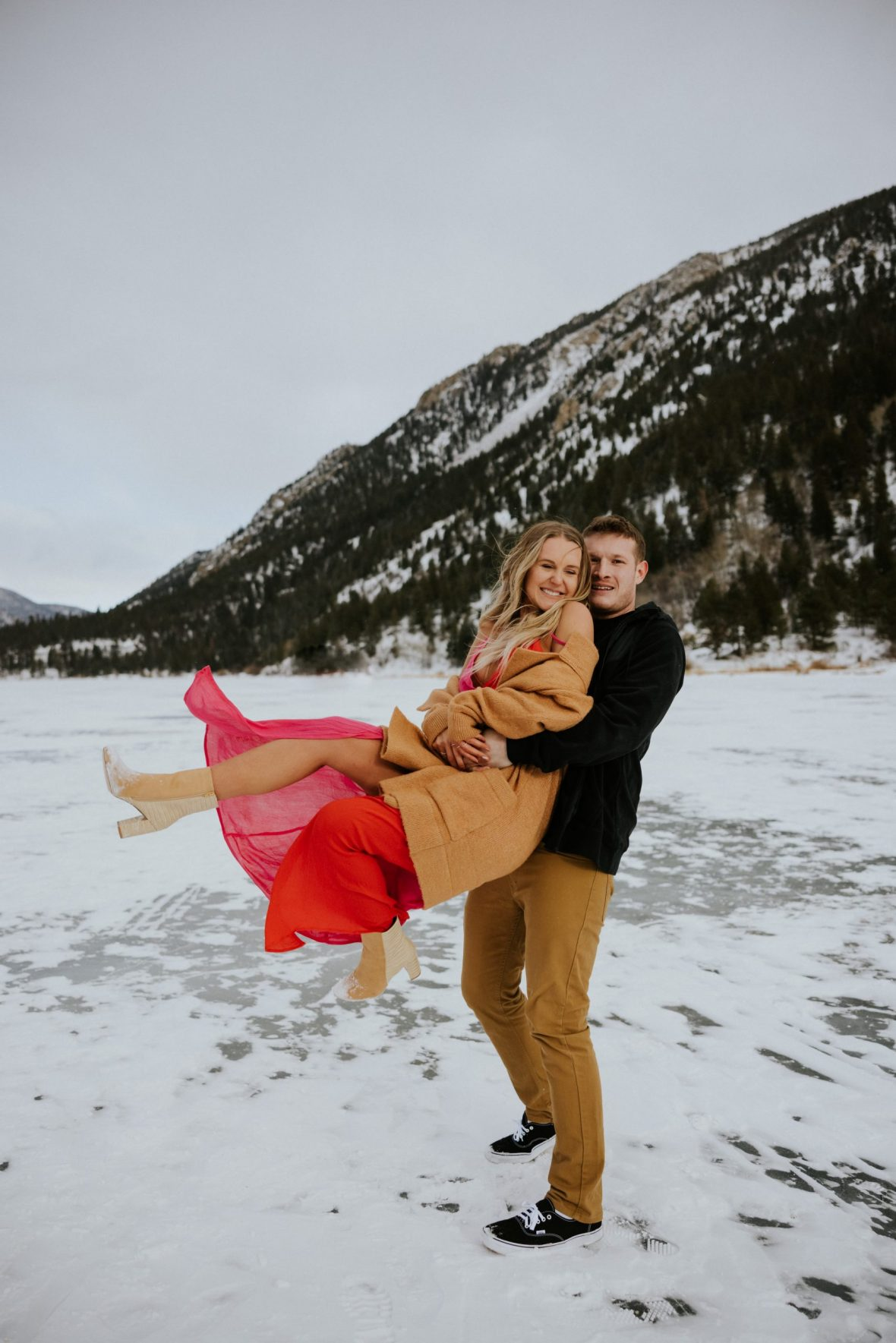 Couple snow day photo on Valentine's Day